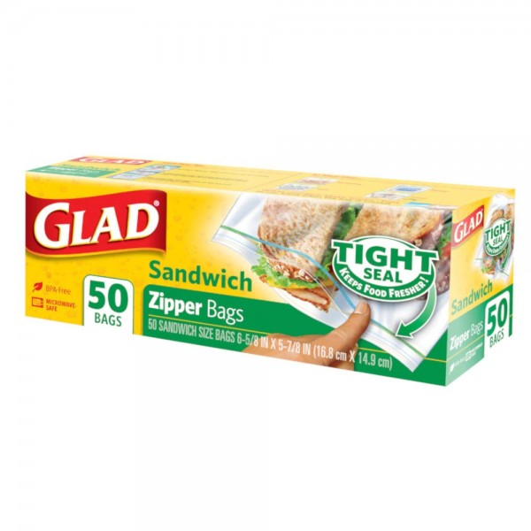 GLAD SANDWICH ZIPPER BAGS 100BAG