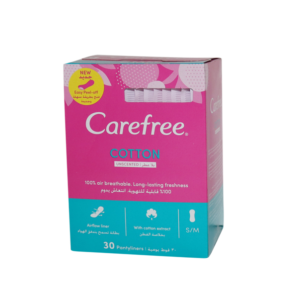 CAREFREE W/COTTON EXTRACT 1*30 PADS