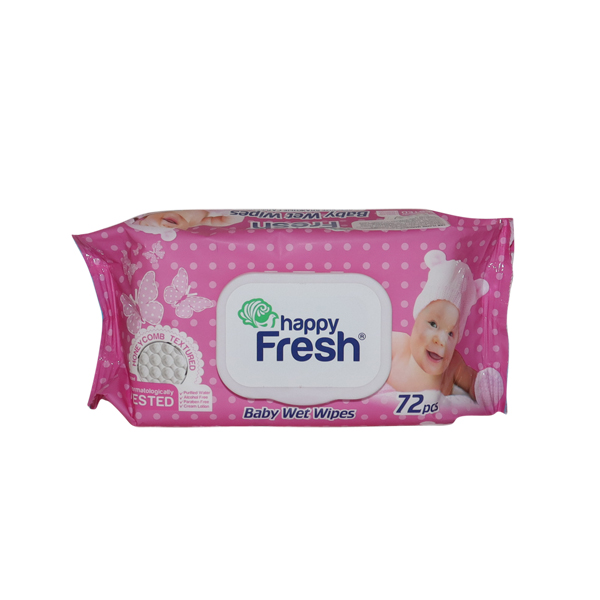 HAPPY FRESH WET WIPES PINK AND BLUE 1*72 SHEETS