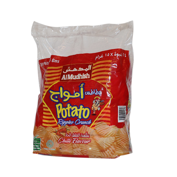 AL MUDHISH POTATO RIPPLES CRUNCH CHILLI  BAG 24*15g